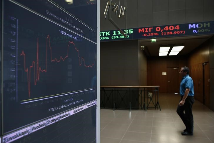 © Reuters. Greece stocks lower at close of trade; Athens General-Composite down 1.35%