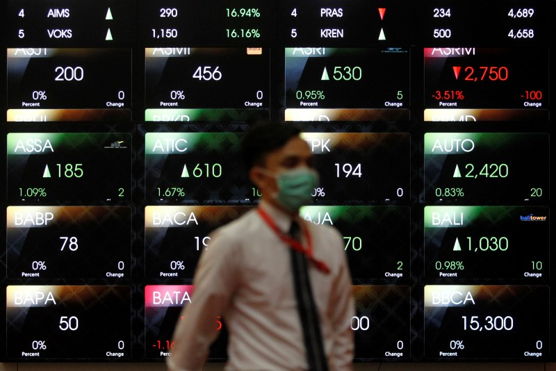 © Reuters. Indonesia stocks lower at close of trade; IDX Composite Index down 0.76%