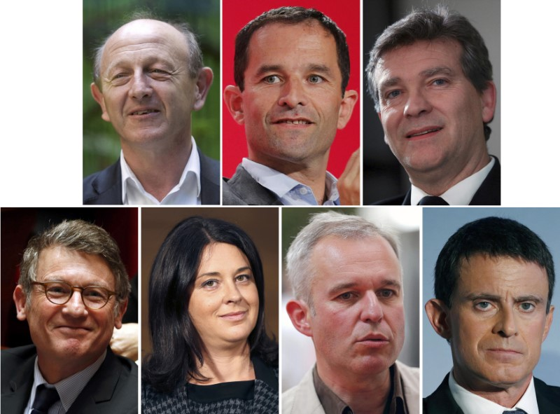 © Reuters. A combination picture shows portraits of French politicians after the announcement of the official list of candidates for the French Socialist presidential primary, in Paris